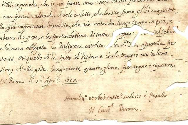 1607 Cardinal Jacques Davy DuPerron Signed Letter