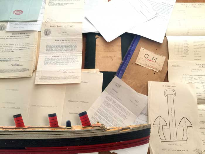 WWII RMS Queen Mary Charts & Ship's Documents (Sold for $1,200)