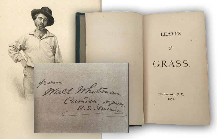 "1872 ""Leaves of Grass"", Walt Whitman Signed Presentation Copy (Sold for $3,400)"